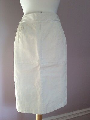 Salvatore Ferragamo White Leather Pencil Skirt Sz 0 Above Knee