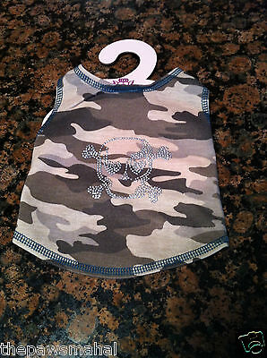 - Tan Camo Camouflage Dog Tank Top Shirt Clothes+ Silver Nail Head Skull Patch