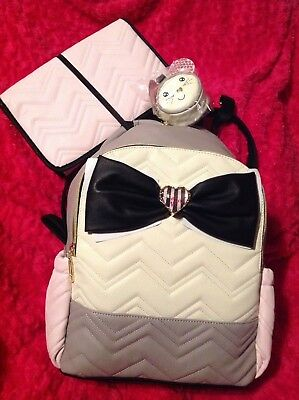 Betsey Johnson BABY BACKPACK DIAPER BAG LUGGAGE Pink Gray Girl NEW Shoulder