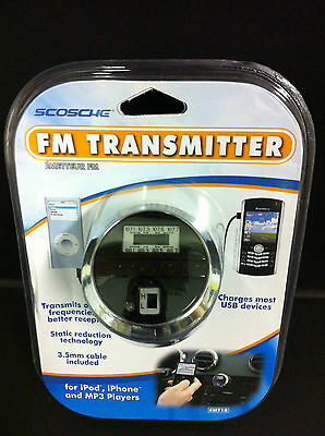 Scosche FM Transmitter w/Car USB Charger & Audio Cable for Any iPhone/Smartphone