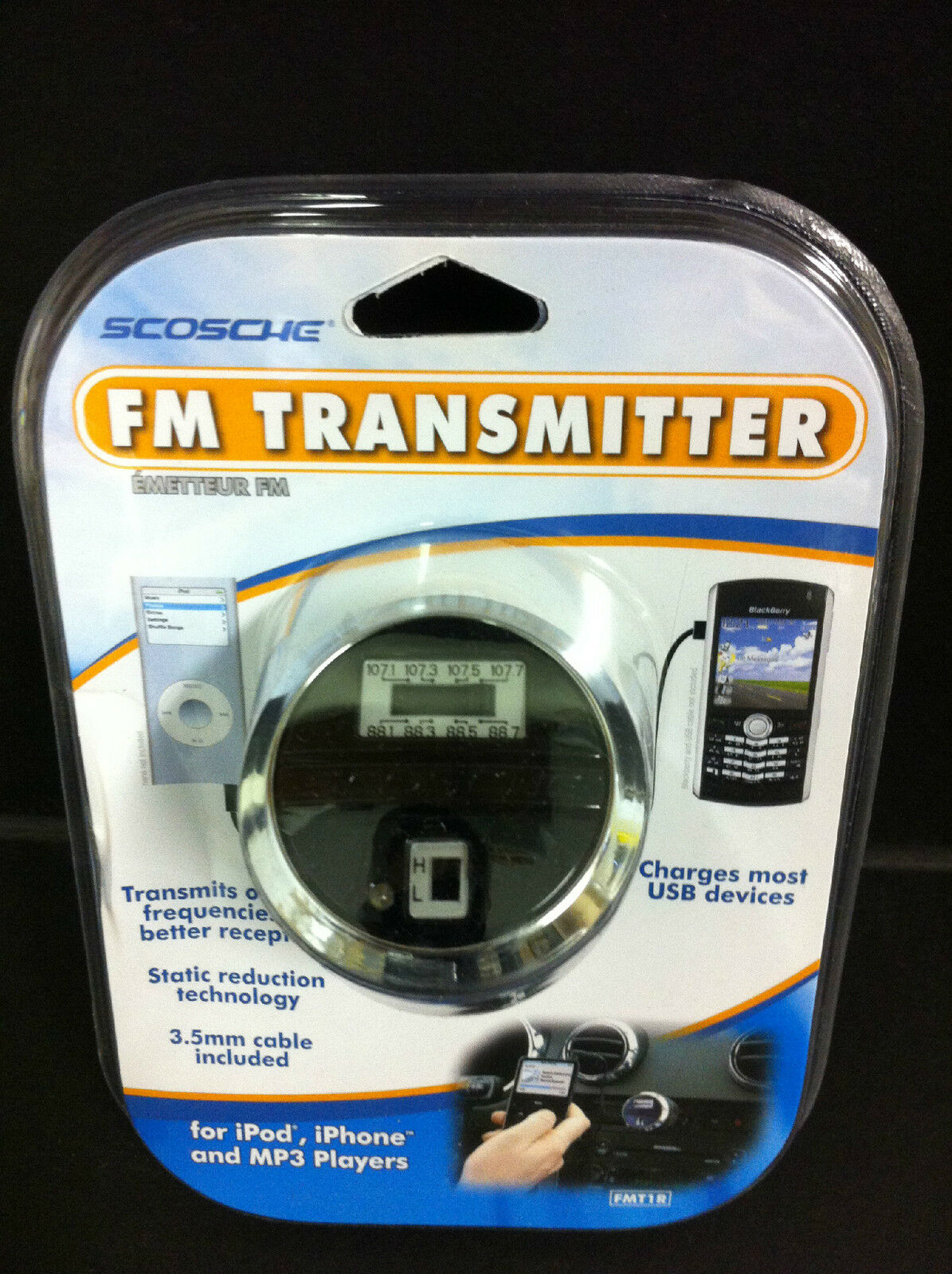Scosche FM Transmitter+USB Car Charger w/AUX Cable for iPhon
