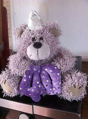 Grey 5 & A Half Inch Happy 40th Birhday Bear With Party Hat