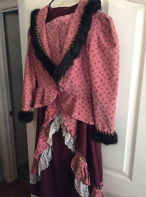 VictorianVINTIAGE Pink/BurgDrs,sz2/4 2p Dress 17/1800Costume Conn/ Universal Stu - 1800 Dress Costume