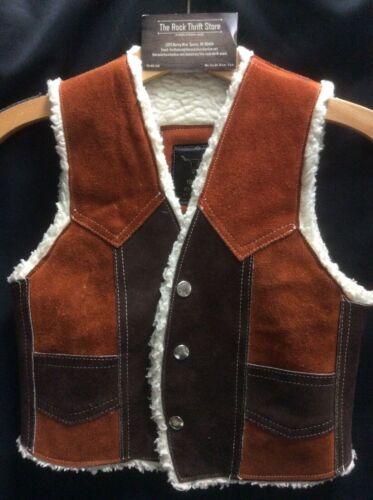 VINTAGE Kids  Western Suede  Leather Cowboy Vest Brown/rust SNAP front EXCELLENT