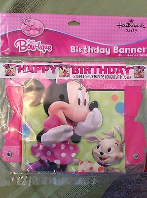 Minnie Mouse Banner (Minnie Mouse Bow-tique Party Supplies 5.75' Happy Birthday)