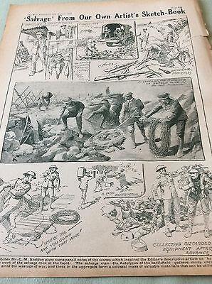 m4-9 ephemera 1918 picture ww1 sketches salvage men western front