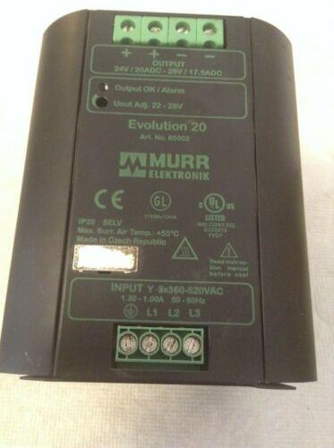 Murr Elektronik Evolution 20 Power Supply 24VDC 20 Amp 85002