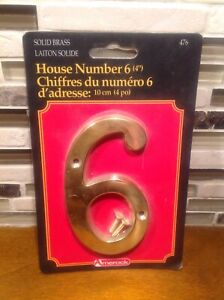 Solid brass house Address number 6