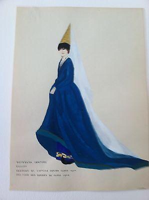 1924 Original Painting 15th Century English Ladys Fashion Dress