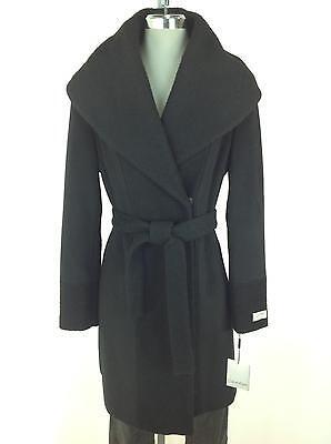 Panel-wolle (Calvin Klein Premium Damen Neu Elegante Schwarze Strukturiert Panel Wolle Mantel)