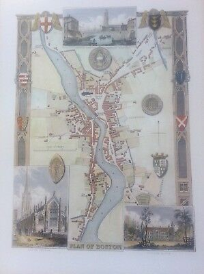 Plan of Boston Antique Colour Map by Thomas Moule County Maps of Old England 14""