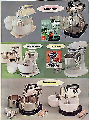 1965 ADVERTISEMENT 2 Page KitchenAid Electric Food Mixer Hamilton Beach Sunbeam
