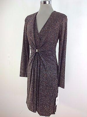 (Calvin Klein NWT Exquisite Dress Black multi Shimmer Sheath Buckle sz 2 4 6 8 12)