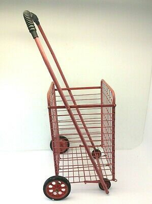 Used Folding Wire Wheels Flea Market Shopping Basket Cart Rolling Storage