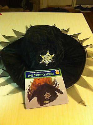 Ghost Cowboy Hat NWT Black Spooky Scary Western Old West Costume Halloween NWT