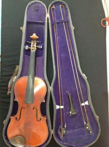 RARE ANTIQUE FRENCH VIOLIN FRANCOIS BARZONI CHATEAU THIERRY 4/4 CASE 2 BOWS