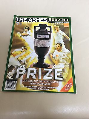 Programme From Australia V England Cricket Ashes 02/03