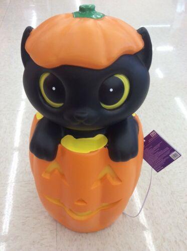 New Halloween Blow Mold Kitty Cat Jack O Lantern lighted