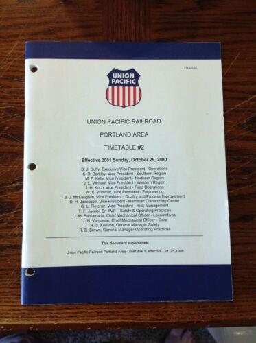 Union Pacific Railroad Portland Area Timetable #2 October 29, 2000