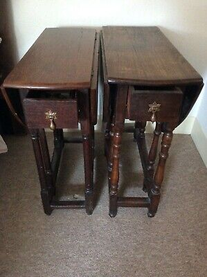 17TH/18TH CENTURY OAK GATELEG TABLES (2) NEAR PAIR SMALL PROPORTIONS (DRAWERS)..