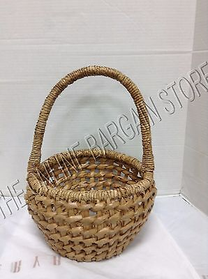 Pottery Barn Woven Easter Seagrass Chunky Round Large Spring Egg Basket 12x17 ()