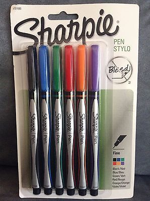 Sharpie 1751690 Fine Point 6 Pack Pens Assorted Colors - Brand New In Package