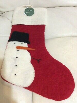 West Elm & PB Kids Wool Modern Felted Christmas Stocking Snowman No Mono NWT ()
