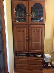 SOLID OAK  DINING TABLE SET AND HUTCH