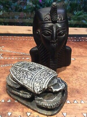 EGYPTIAN  SCARAB  BETTLE  AND  HEAD PAPER WEIGHT