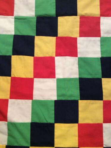 "Quilt Hand Made 91"" x 76"" Machine Sewed Red Yellow Black White Green Square"