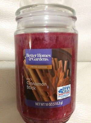 Better Homes & Gardens Spicy Cinnamon Stick Candle Large Jar 18oz NEW Free (Best Cinnamon For Baking)