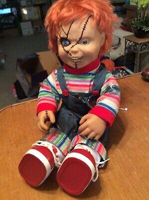 "Chuck Doll Animated Spirit Halloween 24"" Tall Talks Several Phrases Turn Head Mo"