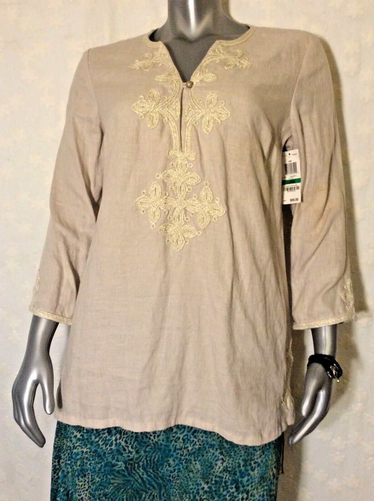 Charter Club NWT Luxury Linens SZLarge Flax Color Tunic Gold