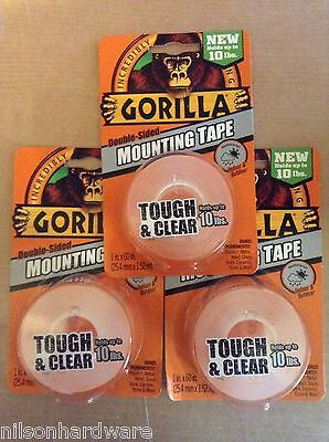 3pk Gorilla Tape Indoor Outdoor Mounting Double Sided Clear Weatherproof 6065003