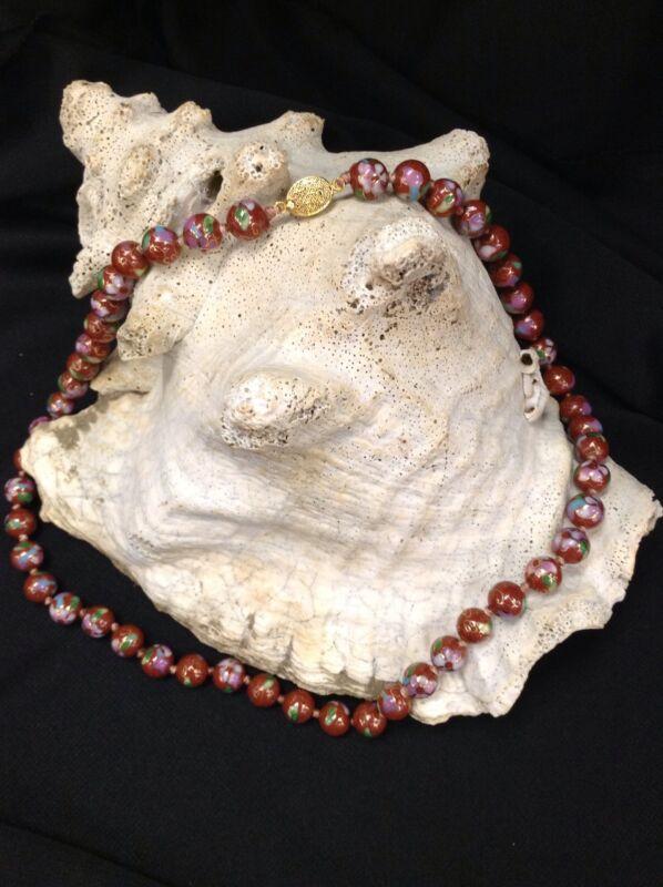 Vintage Flower Knotted Bead Cloisonné Ware Enamel Necklace