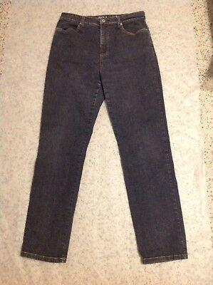 French Dressing Jeans, Suzanne Slim Leg, Stretch, Black/Gray wash, Size 10