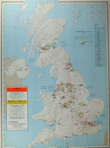 VINTAGE LARGE MAP of BRITAIN CEMENT 1954 EMPLOYMENT BRICKS FIRECLAY SAND GRAVEL