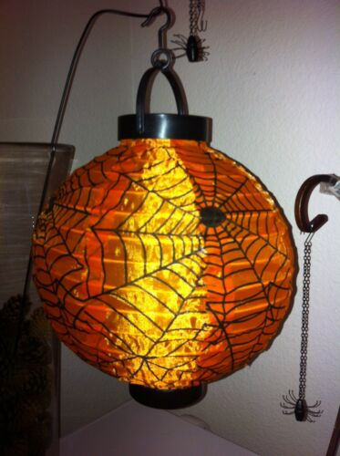 HALLOWEEN-SPOOKY SPIDERWEB LANTERN- FABRIC -LED Lights-Portable-Stand-Hang-Carry