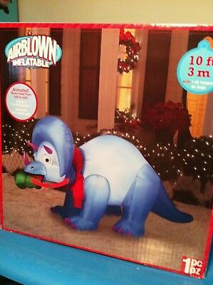 Ultra Rare Triceratops 10 Foot Animated Gemmy Inflatable 2015 Christmas Dinosaur