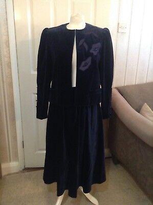 Vintage  Louis Feraud Paris 40 Velvet Suit Size M (12-14 )
