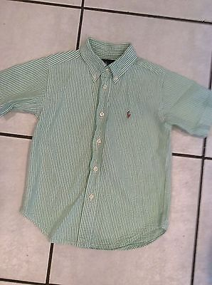 Boys Multi Color Seersucker ( Ralph Lauren GreenWhite SEERSUCKER Stripe Shirt 4/4T Boys Multi color POLO)