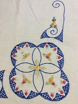 Vintage 50's Linen Kitchen Tablecloth Hand Embroidery Bright Colors As Found