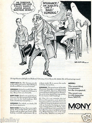 1970 Print Ad Of Mony Mutual New York Life Insurance Mr Scrooge Christmas Carol