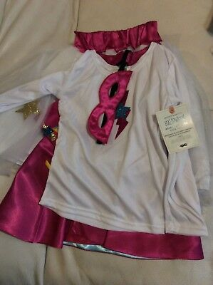 Pottery Barn Kids Girls Amazing Girl Pink Halloween Costume sz 4-6 Tutu Cape NWT