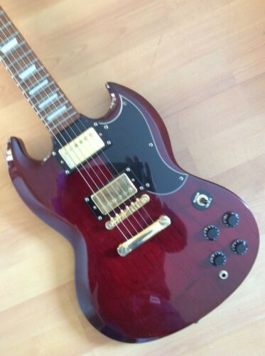 Electric Guitar Vintage John Hornby Skewes Dark Cherry ( Gibson SG Replica )