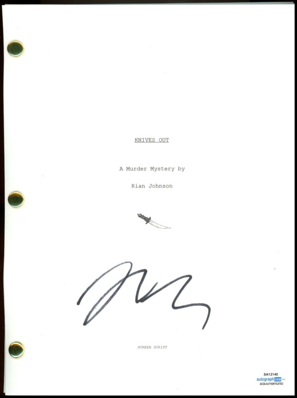 "Rian Johnson ""Knives Out"" AUTOGRAPH Signed Full Complete Script Screenplay ACOA"