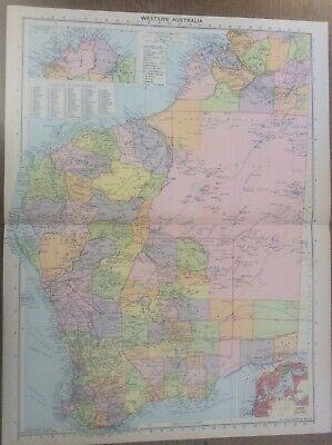 Vintage Antique 1939 Philips Map 20x15 Western Australia