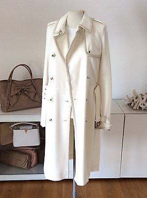 Luxus Traummantel Tory Burch Mantel Coat Cream White Creme Weiß Leder Paspel 38 - Cream Mantel