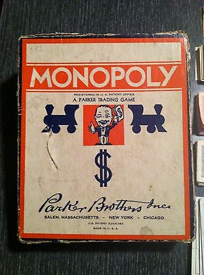 1936 VINTAGE PARKER BROTHERS MONOPOLY GAME PIECES IN BOX - NO GAME BOARD