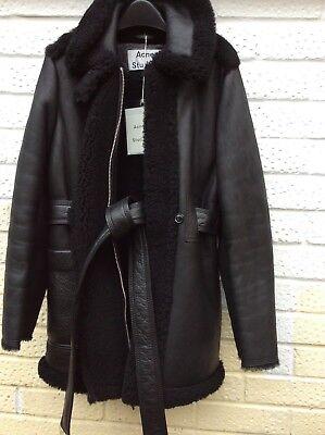 ACNE STUDIOS Real Shearling Lamb Leather Jacket Coat Size 34 (8UK) Black NEW